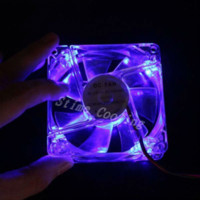 Wholesale 400PCS Transparent Blue LED Light V CM MM Computer x80x25mm Fan light and fans and