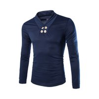 Wholesale Autumn new men s long sleeved T shirt men s cotton t shirt Slim lapel small shirt