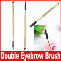bamboo combs - 2016 Brand New Tarte Professional Makeup tools bamboo handle double eyebrow brush eyebrow comb makeup brush