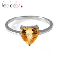 Cheap Genuine 925 Sterling Silver Citrine Rings For Women Natural stone Engagement Jewelry Fashion 7x7mm Heart Romance Design Hot Sale