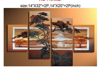 african metal art - Large Handpainted Modern Canvas Wall Art Decor African Forest Tree Labour Home Decoration Landscape Oil Paintings set order lt no