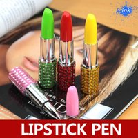 Wholesale New Arrival Colorful Rhinestone Crystal Sexy Lipstick Shape Writings Ballpoint Pen Ballpen Cute Funny For Baby Girls