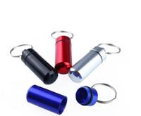 Wholesale 4 Colors Mini Aluminum Pill Medicine Box Case Bottle Holder Container Keychain Key Chain Pill Case Pill Box Stash Mental Case