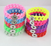 Wholesale Hot Sale Braided Rope Snaps Bracelet Button Bangle Fit Ginger Snap Button Bracelets Bangles For Women QN