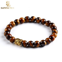 beaded stretch bracelet - Gold Buddha Beaded Bracelets Bangles Natural Stone Charm Bracelets For Women Men Jewelry Bracciali stretch