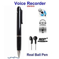 Wholesale Portable rBall point Pen Voice Recorde and Stereo Voice USB Audio Recorder Pen with GB supporting Black MP3 format DHL