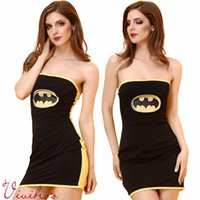 adult batman costume - Superhero Superwoman Black Batman Adult Cosplay Costumes Milk Silk Strapless Dress Sexy Ladies Halloween Masquerade Party Free Size Dresses