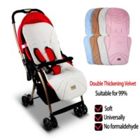 baby car seat double - Baby Stroller Double Thickening Velvet Car Seat Infant Stroller Seat Cushion Child Carriage Car Umbrella Cart Seat Mattress