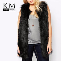 Wholesale Kissmilk Plus Size New Fashion Women Big Size Elegant Fur Sleeveless Open Stitch Street Style Coat XL XL XL XL