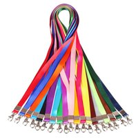 badge reels - 50pcs High Quality Colorful Detachable Necklace Strap Lanyards Neck Hang Rope Reel ID Metro Card Badge Bag Holder