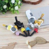 Cheap Wholesale-Super Cute Dust Plug Lucky Cat Playing Ball 3.5mm Anti Dust Earphone Jack Plug Stopper Cap For Phone