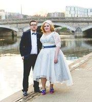 alternative pictures - Colorful Plus Size Country Lace Wedding Dresses Tea Length High Low Applique Short Sleeve V Neck A Line Alternative Bridal Gowns