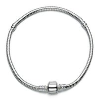 Beaded, Strands bars strand - Sterling Silver Charm Bracelets Screw Clasp Bracelet Snake Chain Bangle Fit European Charms Silver Beads DIY Jewelry