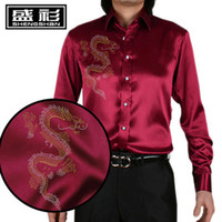 Cheap Wholesale-Mens Polka Dot Dress Shirt Mens Long Sleeve Silk Shirts Satin Black Shirt Men S-3XL Plus Size Imitation Silk Shirt Men Hot Sale