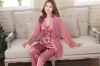 Wholesale 2016 explosion models recommended three piece pink bean paste color royal blue silk loose women s silk pajamas tracksuit