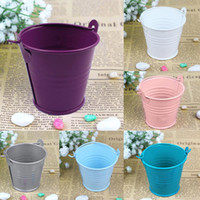 mini bucket - 12pcs Mini Metal Bucket Tin Candy Box Buckets Wedding Party Souvenirs Gift Pails Colors