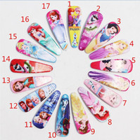 Plastic Multi-Color Barrettes Frozen girls hairpins children cartoon hair accessories princess elsa anna Cinderella Mermaid snow white Hairpin Clip Hair Baby Hair Clip