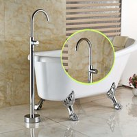 bathtub piping - Single Pipe Floor Mount Bathroom Tub Faucet One Handle Hot Cold Water Bathtub Mixer Taps Chrome Finished