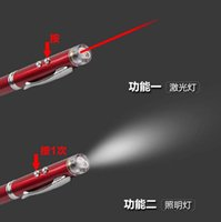 Wholesale red mini light pen metal laser pointer with led flashlight led laser pointer pens Led ball pen with lasers torch