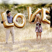 "Wholesale Large Letter Foil Balloons - ""I LOVE YOU"" 40 Inch Large Big Foil Helium Letter Balloon Aluminum Foil Balloon Valantine's Day Wedding Party Decor 12SETS=96PCS LOT"