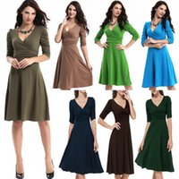 Wholesale 2016 Hot Sale new fashion women s dress career deep V neck big dress for Ladies colors free ship