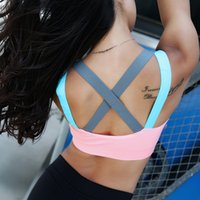 Wholesale Patchwork women hollow out sexy bra yoga sport running tank tops quick dry crop top fitness gym tops clothing sleeveless shirt