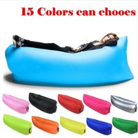 Wholesale Fast Inflatable hangout Air Sleep Hiking Camping Bed Beach Sofa Lounge Banana Sleeping bags banana lazy lay bag colors can lamzac