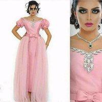 Cheap Dubai Arabic Detachable Tulle A Line Prom Dress 2016 Ruffle Short Sleeves V Neck Sparkling Crystal Floor Length Evening Dress Saudi Arabia