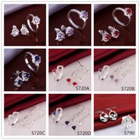 Wholesale Factory direct sale women s sterling silver jewelry sets sets Multi Styles DFMS48 hot sale fashion silver Earring Ring jewelry set