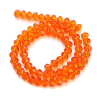 Wholesale 2 strand mm orange red glass bicones faceted crystal beads spacer beading diy jewelry findings F2301