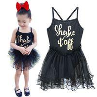 ballet dance leotard - PrettyBaby shake if off letter print New Kids Child Cotton Black Dance Ballet Leotard With Skirts Tutu Ballet Dresses For Girls