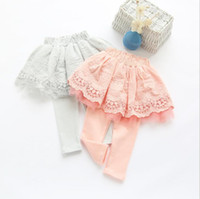 baby lace leggings lot - Fake two pieces pantskirt Short lace skirt Fashion culottes tight leggings for baby girls kids children trousers autumn
