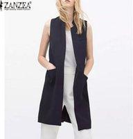 Wholesale Spring Autumn Fashion Women Open Stitch Slim Waistcoat Long Vest Jacket Casual Thin Outwear Sleeveless Cardigan Plus Size