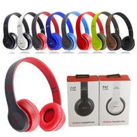 Wholesale P47 Bluetooth Headphone Wireless Headband Earphone Hands Free Music Headset With MF TF for Apple Samsung HTC LG Mobile Phone