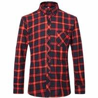 Wholesale Flannel Men Plaid Shirts New Autumn Luxury Slim Long Sleeve Brand Formal Business Fashion Dress Warm Shirts