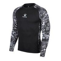 Wholesale Kelme K16Z7001 Autumn New Men Long Sleeve Door God Series Breathable Tights Running T shirt Black Grey