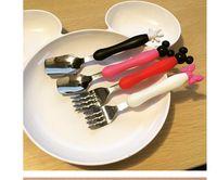 Wholesale Minnie Mouse Spoon Fork Set kids INS Stainless Steel Knife fork spoon Kit Dinnerware Fine Polishing Flatware Set Kitchen Tool LJJK569