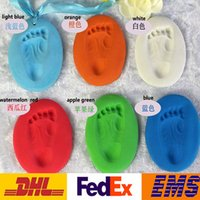 baby casting - DHL Creation Handprint Footprint Baby Care Air Drying Soft Clay Baby Handprint Footprint Imprint Kit Casting Color Bath WX T15