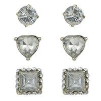 big heart shape - Rhinestone Earrings Sets Different Shapes Geometric Silver Big Stone Stud Earrings