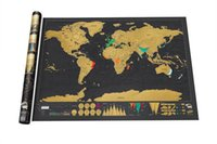 Wholesale Fedex DHL Free Deluxe Scratch Off World Map Art Poster Personalized Travel Log Vacation map Creative Gift x cm