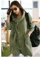 army trench coat - Punk Women Long Trench Coats Hooded Skull Head Embroidered Hooded Trench Coats Army Green Sport Casual Jacket Outerwear LGC1