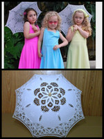 Wholesale New Lace Umbrella Parasol Girls Embroidery White Lace Parasol Wedding Umbrella Decorations