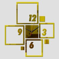 Wholesale direct selling led Acrylic wall clock new arrival suqare diy Quartz watch home decoration decor mirror gift freeshippingTY1931