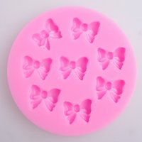 Wholesale Silicon Bake Cake Cup - Cake Baking Moulds Silicon Cake Cup 8 Cups Mini Bow Tie Chocolate Mould Bakeware Ketchen Free Shipping