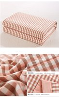 Wholesale super comfortable organic wash cotton summer quilt with pink green blue check design