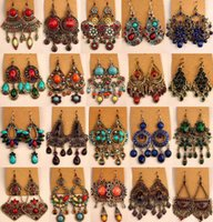 african bronze - Random mix style Pairs Vintage Tibetan Silver Bronze Resin Gem Fashion Earrings earrings New fashion jewelry