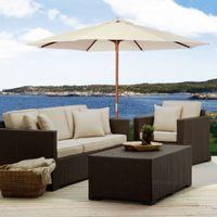 Wholesale Wood Pole Outdoor Beach Cafe Garden Beige Ft Wooden Patio Umbrella Sun Shade