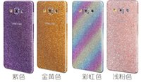 Wholesale Luxury Shiny Glitter Rainbow Full Body Sticker Cover For Samsung Galaxy A9 A510 A710 J5 S7 Edge Plus A7 A5 Sparkle Bling Front Back SKIN