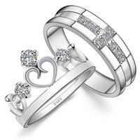 Wholesale Couple rings Cross Crown Style Sterling Silver with zircon for lovers Engagement Ring Wedding Rings Gift for men and women