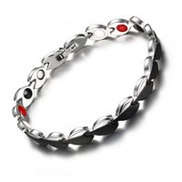 access health - Women Modern Bracelet Black Stainless Steel Bracelets Health Therapy Bio Bracelet Bangle Magnet Germanium Birthday Gift Charm Jewelry Access